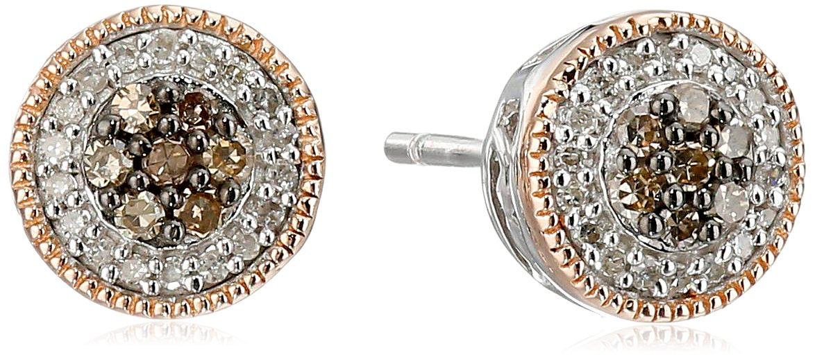 14K Rose Gold over Sterling Silver Chamange and White Diamond Cluster Stud Earrings (1/4 cttw)