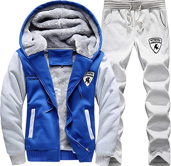 8ac43f1df94 Manluo Men s Winter Sweatsuits Warm Tracksuits Thick Sports Suits Hoodies  Casual at Amazon Men s Clothing store