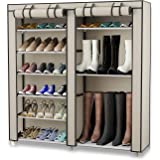 TXT&BAZ 27-Pairs Portable Boot Rack Double Row Shoe Rack Covered Nonwoven Fabric(7-Tiers Beige)
