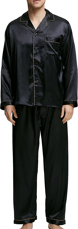 Herren Schlafanzug Pyjama Set Satin Nachtw/äsche mit Langen /Ärmel Loungewear