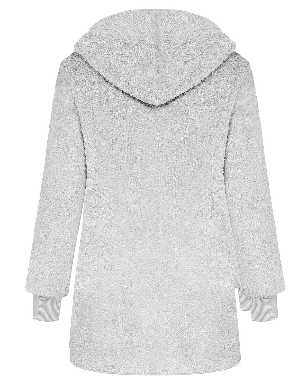 ANGGREK Women Casual Fuzzy Hooded Jacket Faux Fur Cardigan Coat with Pockets