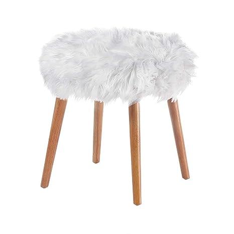 Peachy Amazon Com Aspen Tree Faux Fur Ottoman Chic Makeup Vanity Machost Co Dining Chair Design Ideas Machostcouk