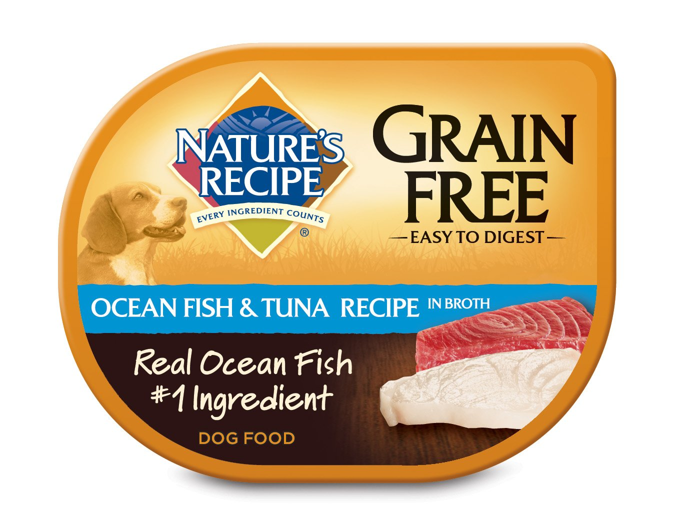 Nature's Recipe Grain Free Wet Dog Food, Ocean Fish & Tuna Recipe in Broth, 2.75 oz (Pack of 24) by Nature's Recipe