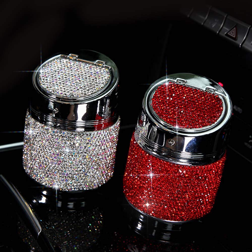 GREENSTORE Ashtray,Luxury Rhinestones Car Ashtray Cup Holder,Creative Personality Ash Holder For Smokers,for Home Office Car Decoration