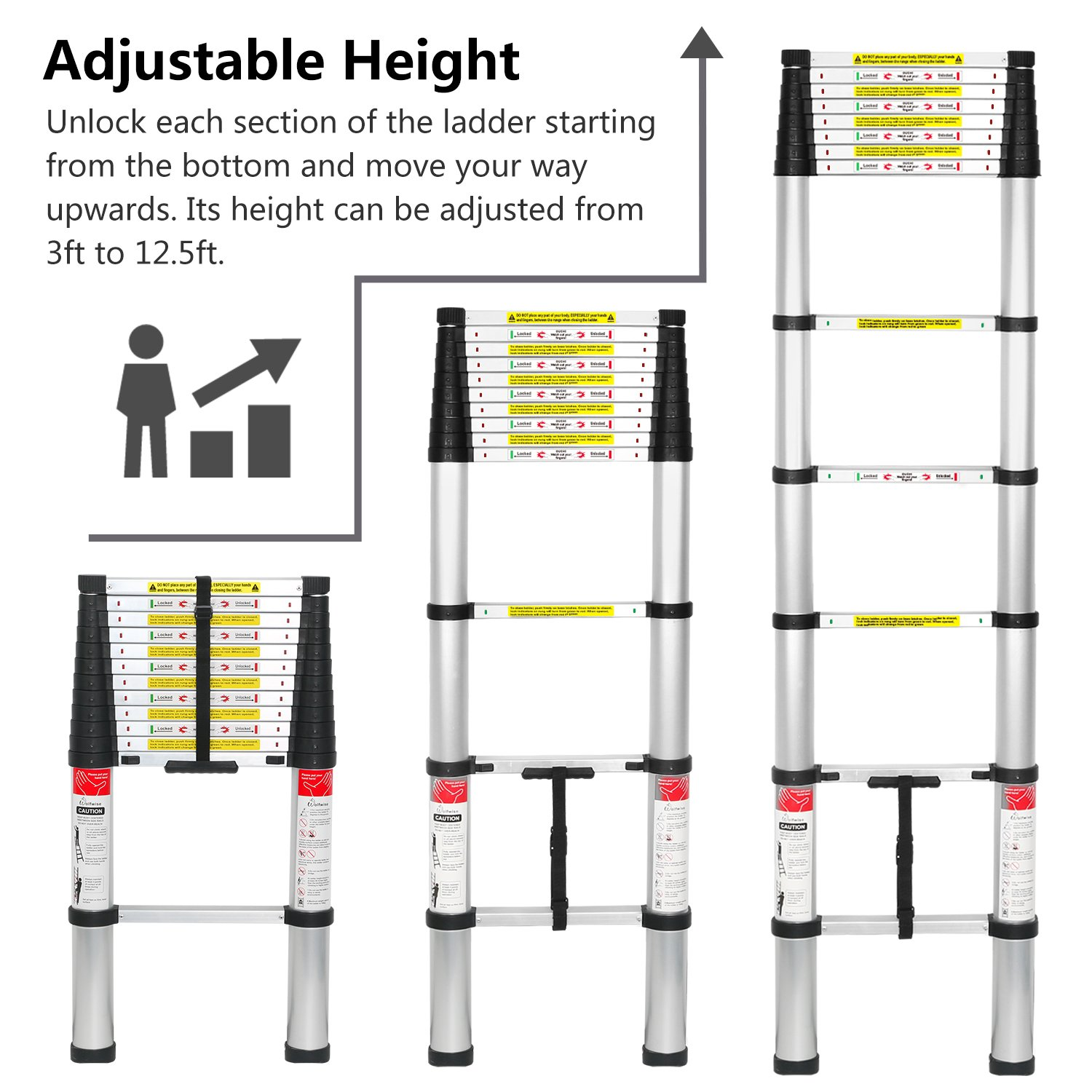 WolfWise 12.5 FT Telescoping Ladder Aluminum Telescopic Extension Tall Multi Purpose by WolfWise (Image #3)