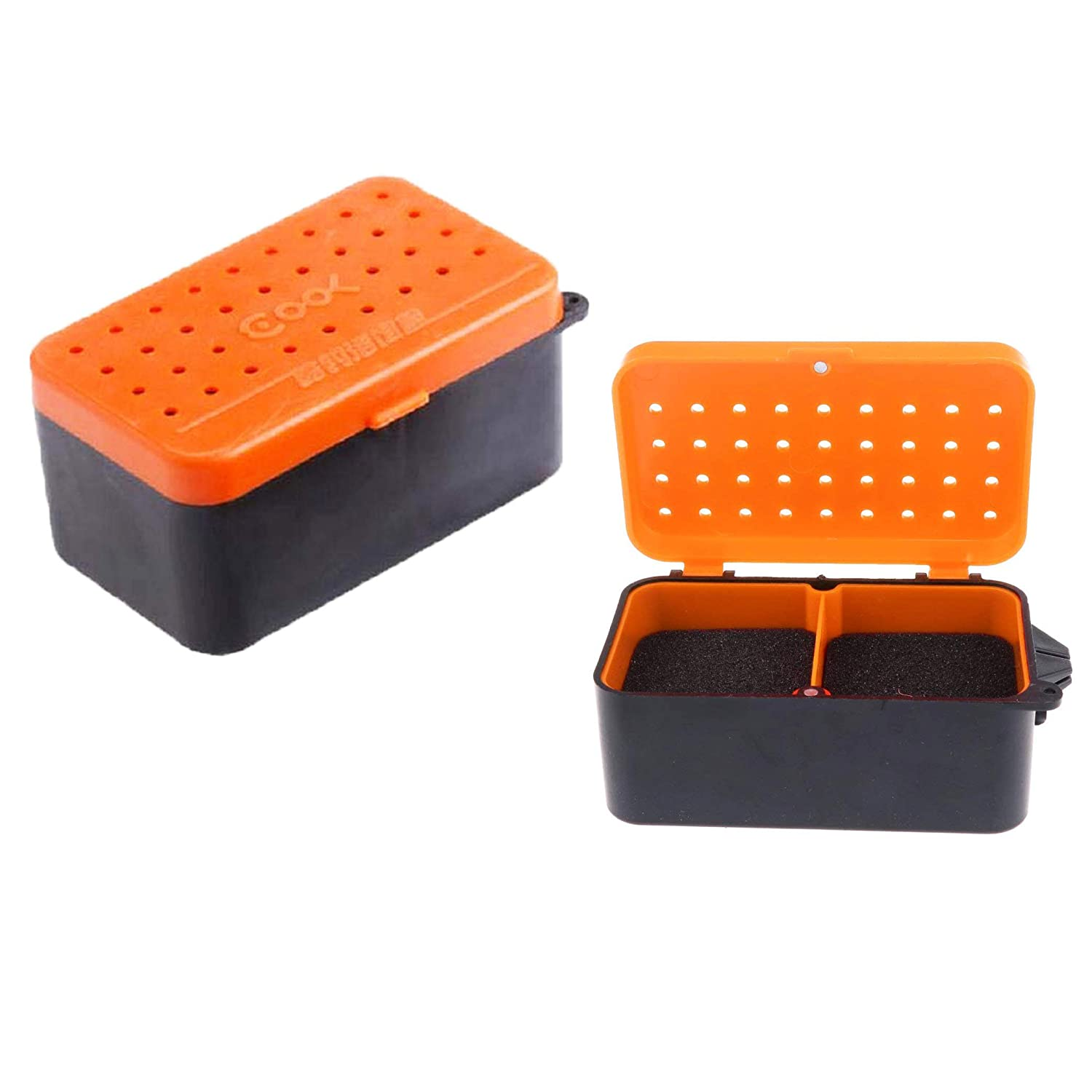 LDEXIN 2Pcs Worm Bait Box Fishing Plastic Portable 2 Compartment Lure Live Bait Fishing Gear Tackle Box Storage Case Worms Earthworm Holder Container