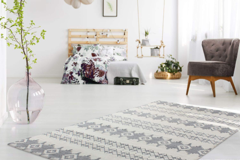 One Couture Teppich HANDGEFERTIGT Jaquard FLACHFLOR Teppich Wolle GRAU Elfenbein Viskose, Größe 120cm x 170cm