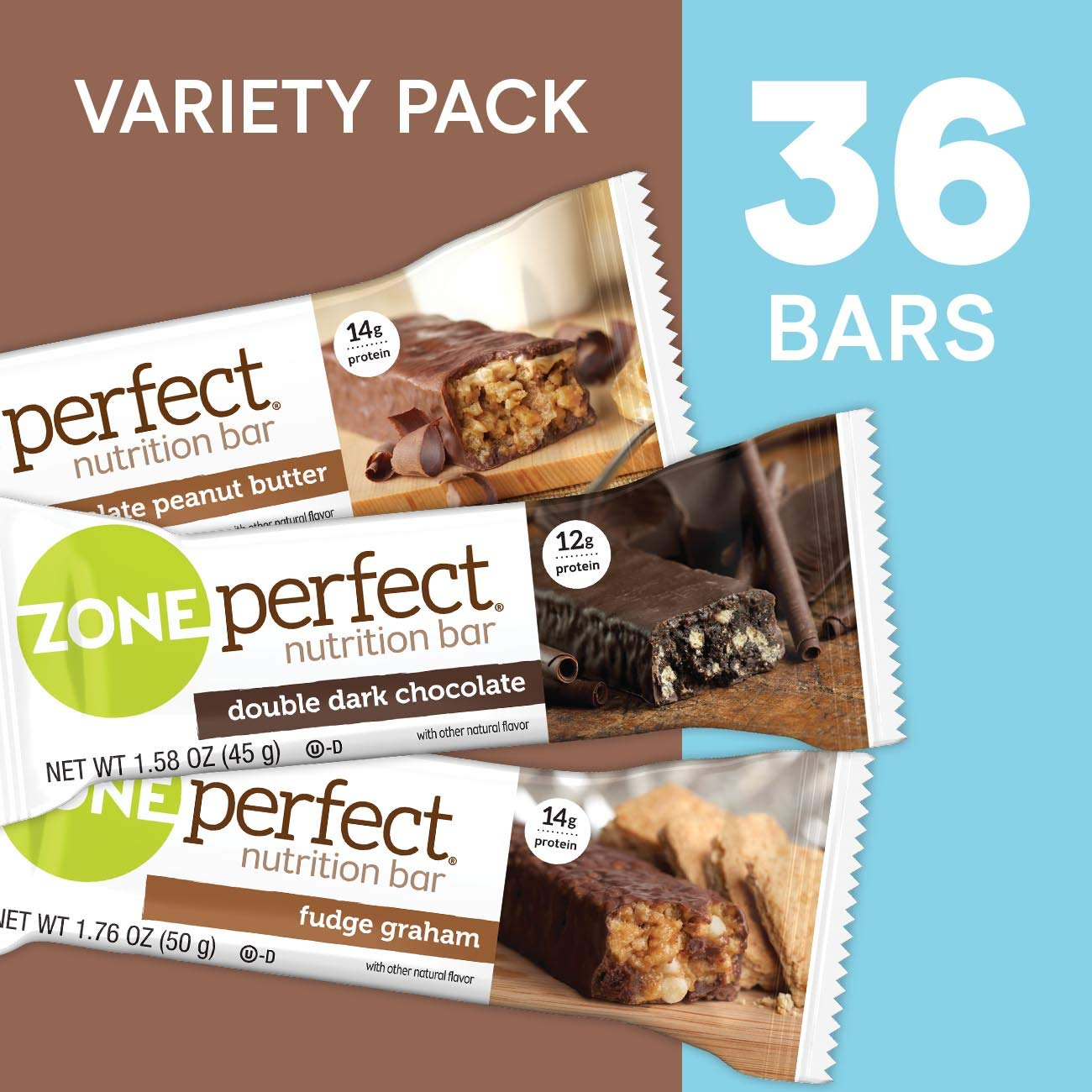 ZonePerfect Protein Bars, Variety Pack, High Protein, With Vitamins & Minerals (36 Count) by Zoneperfect Classic