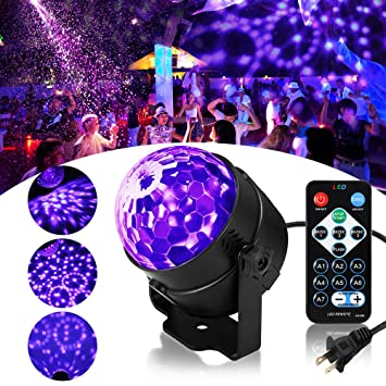 SOLMORE LED UV Black Light 3W Disco Ball Party Lights DJ Lights Sound  Activated Strobe Light Stage Lighting for House Party Nightclub Karaoke  Dance ...