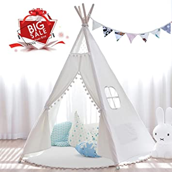 premium selection a2fb2 384d9 JOYNOTE Teepee Kids Tent with Thick Mat & Carry Case & Decorations Star  Stickers & Flag - 5 Wooden Poles Canvas Tipi (White)