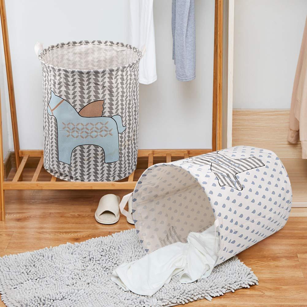 Black Leaf UUJOLY 19.7 Inches Large Laundry Basket Waterproof Storage Basket Collapsible Cotton Linen Laundry Hamper