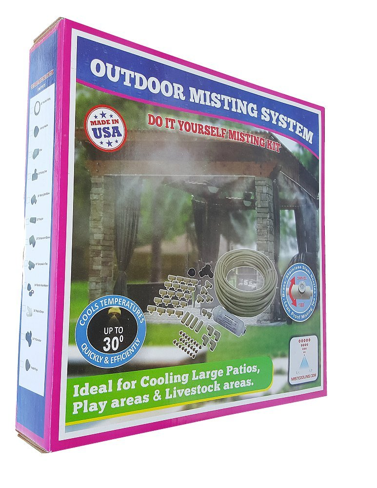 Patio Misting System - Retail Box Misting System -Customize and build your own misting system - 3/8 Inch Do It Yourself Misting System (125 Ft- 30 Nozzles)