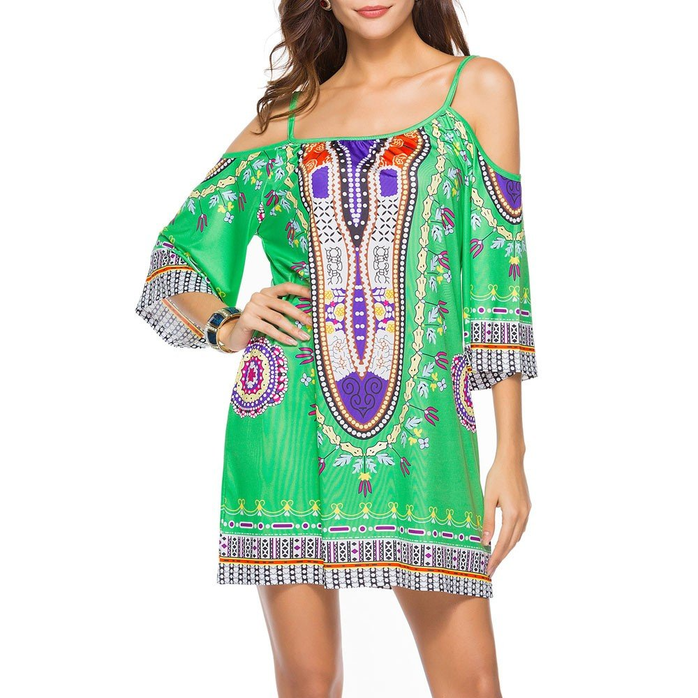 HAALIFE◕‿Women's Tribal Print Kimono Sleeve Geometric Tunic Boho Dress Green by HAALIFE Women's Clothing (Image #3)