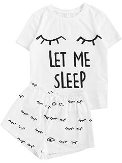 didk women s cute cartoon print tee and shorts pajama set at amazon