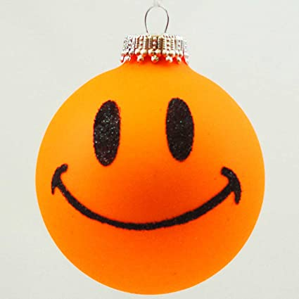 Amazon.com: Holiday Ornaments SMILEY FACE Glass Ornament Ball Happy ...