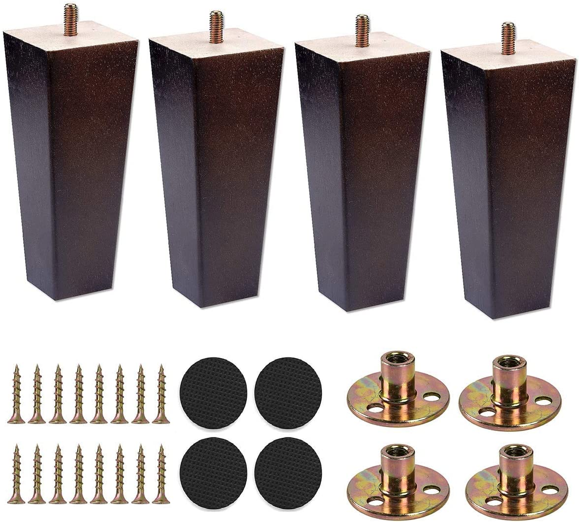 Sangle Sopffy 4Pcs Wooden Furniture Legs 6 inch Vintage Couch Hardware Accessaries Great Sofa Replacement Legs for Armchair Recliner Coffee Table Dresser Bed,Brown (Square)