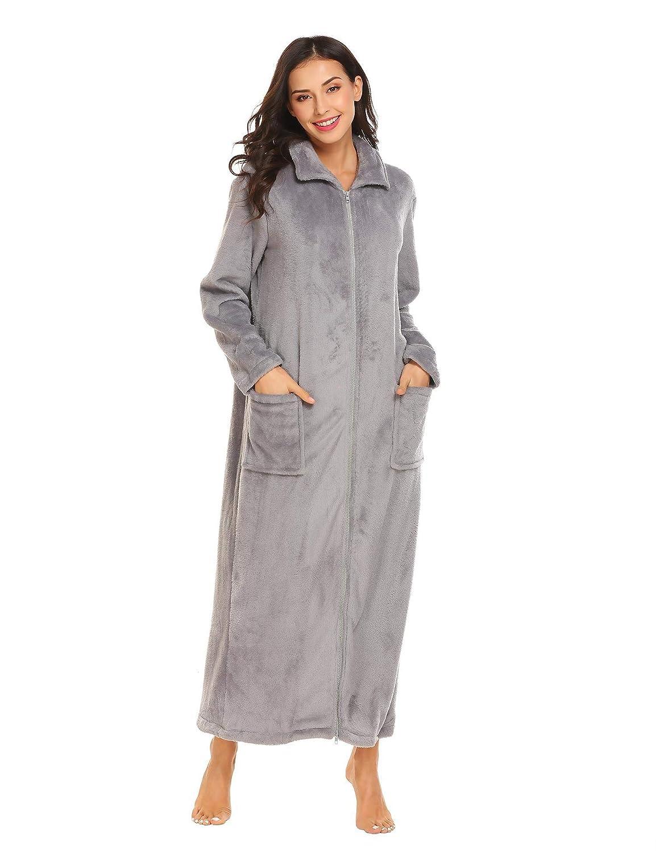 Skylin Womens Stand Collar Fleece Robe Soft Zip-Front Bathrobe Nightgown  Loungewear (Grey 983294a14