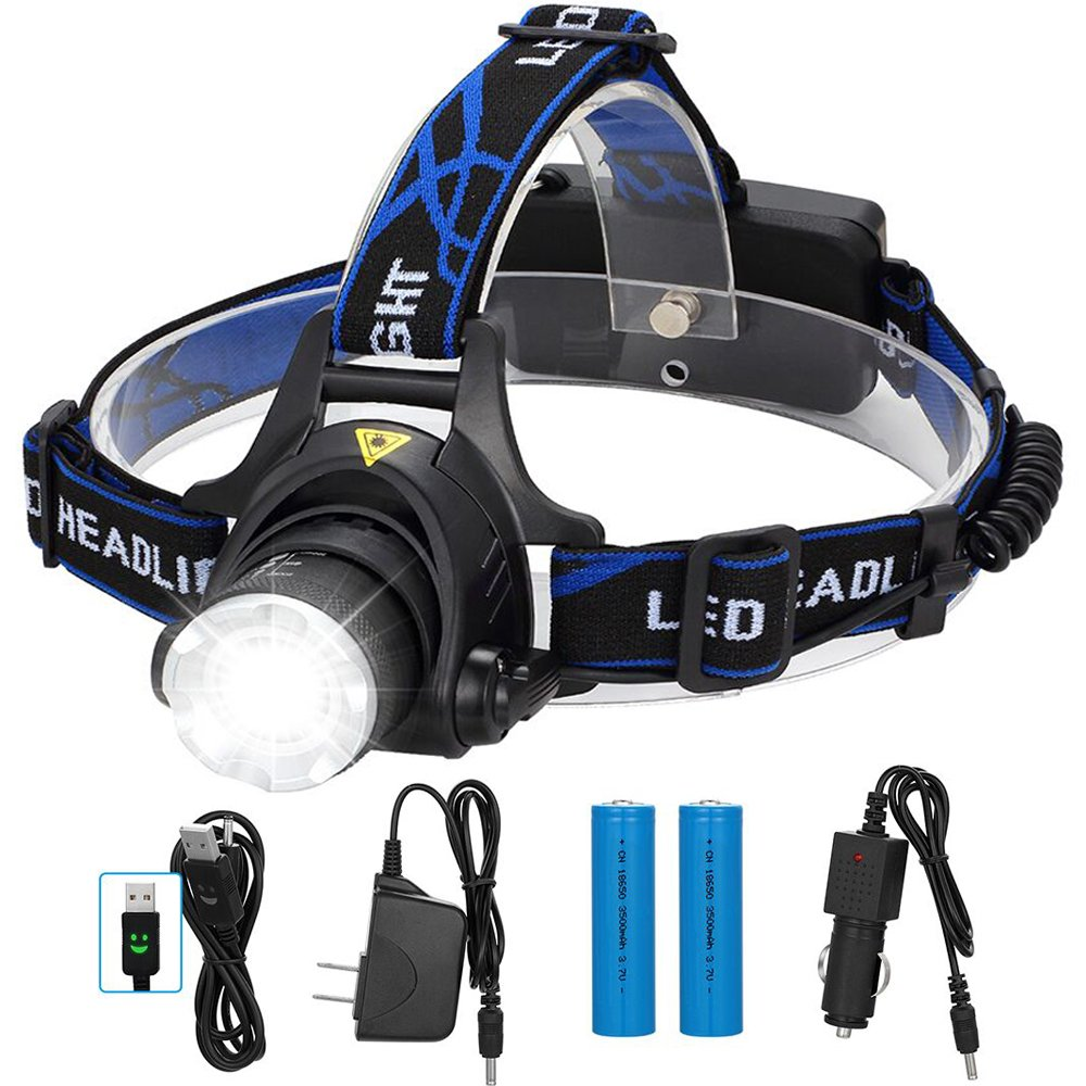 Gutsdoor Headlamp Brightest Flashlight with Rechargeable Batteries Waterproof Zoomable Headlight 3 Mode Rotatable LED Lamp with 18650 Energizer Batteries Car Charger Wall Charger and USB Cable.