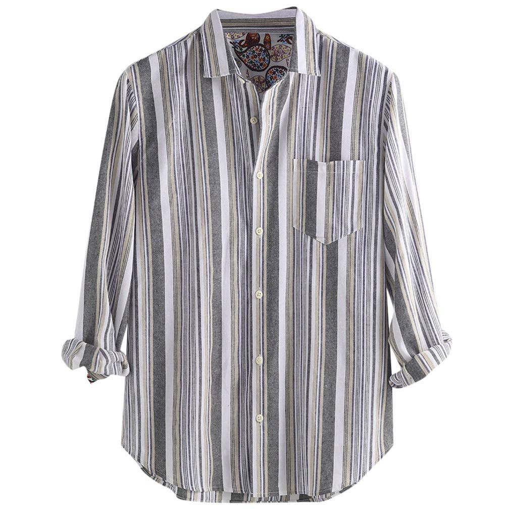 Dumanfs Fashion Mens Cotton Shirts Vertical Stripe Long Sleeve Button Down Shirt Blouse