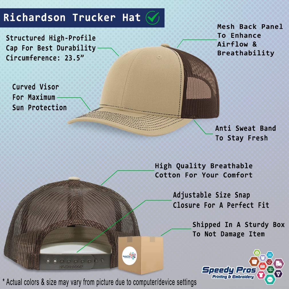 Richardson Structured Mesh Trucker Hat Best Mom Ever with Leaf Embroidery Hat