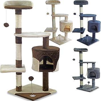 Beltom Rascador Afilador Uñas para Gatos Árbol Escalador Mascota Rascarse Juego 112 cm - Marrón-Beige: Amazon.es: Hogar