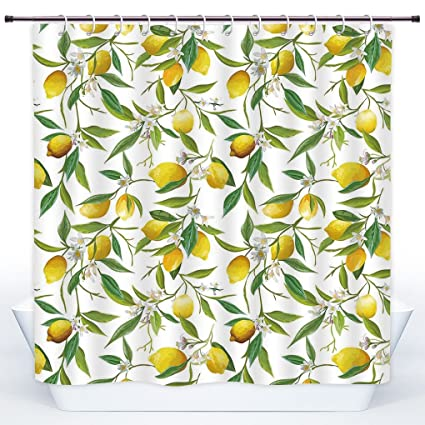 SCOCICI Stylish Shower CurtainNatureFlowering Lemon Woody Plant Romance Habitat Citrus Fresh Background