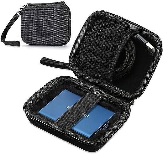 حقيبة حمل ProCase لهاتف Samsung T5 T3 SSD, حافظة حمل صلبة مدمجة مضادة للصدمات لهواتف T5 / T3 / T1 SSD محمولة 250 جيجابايت 500 جيجابايت سعة 1 تيرابايت 2 تيرابايت يو اس بي 3.1 نوع C - أسود