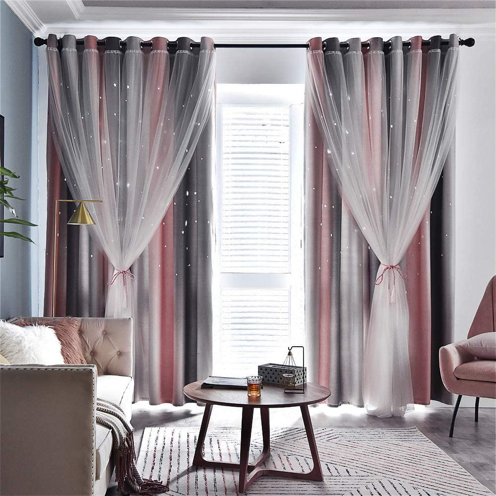 TINYSUN Rainbow Stripe Star Cut-Out Blackout Curtains for Bedroom 2 Panels,2-Layers Mix Design of Fabric & Tulle,Pretty Ombre Window Curtain for Kids Room(W52 x L84,Total is104-Inch Wide,Grey/Pink)