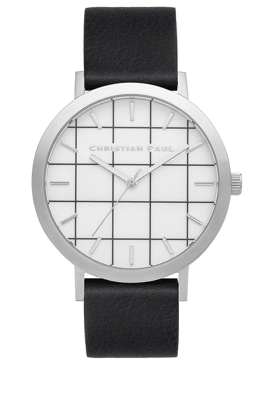 Christian Paul gr-05 Herren Edelstahl schwarz Leder Band Weiß Zifferblatt Uhr
