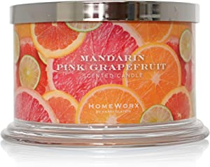 HomeWorx by Harry Slatkin 4 Wick Candle, 18 oz, Mandarin Pink Grapefruit