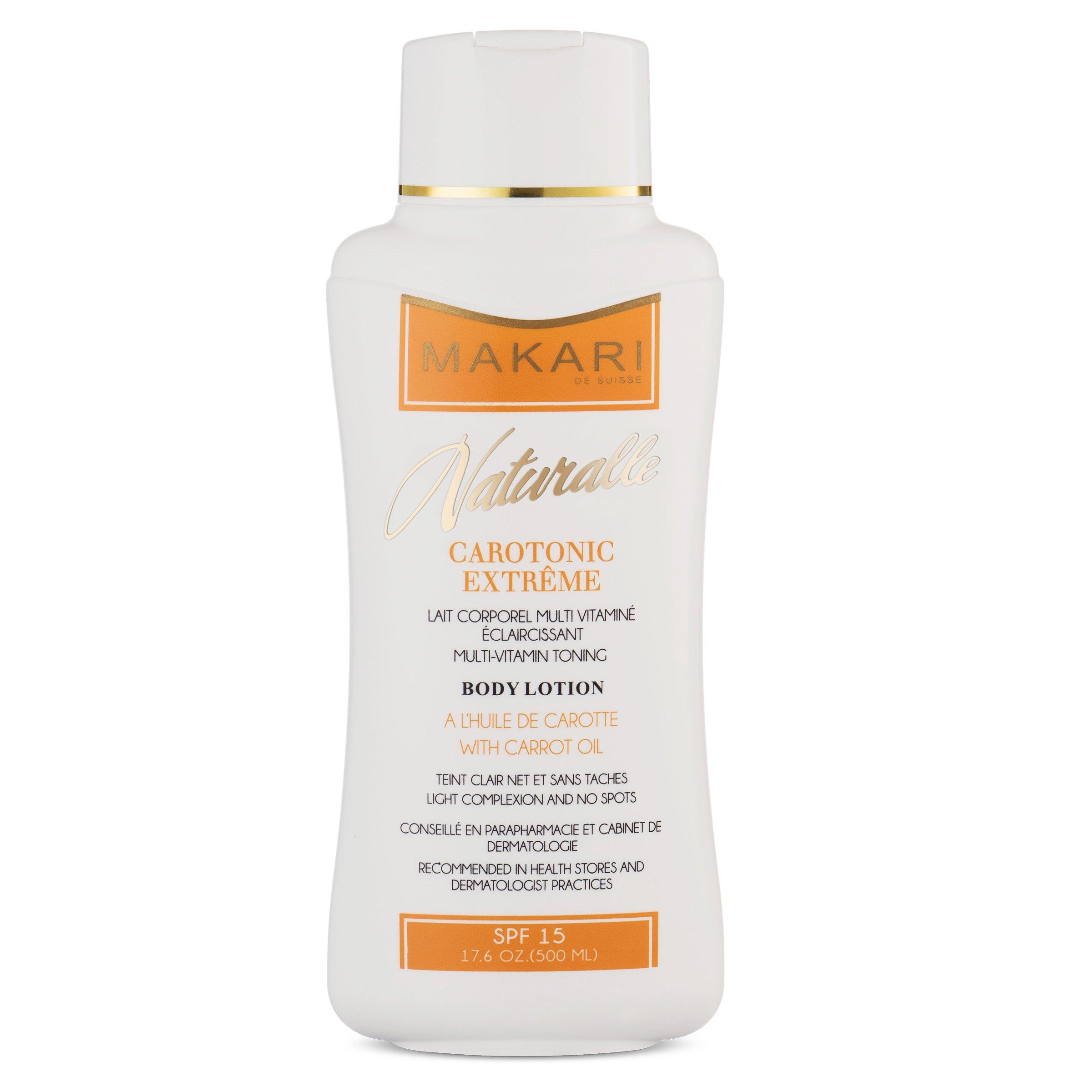 Makari Naturalle Carotonic Extreme BODY Lotion 17.6oz - Lightening, Toning & Moisturizing Body Cream With Carrot Oil & SPF 15 - Anti-Aging & Whitening Treatment for Dark Spots, Acne Scars & Wrinkles by MAKARI