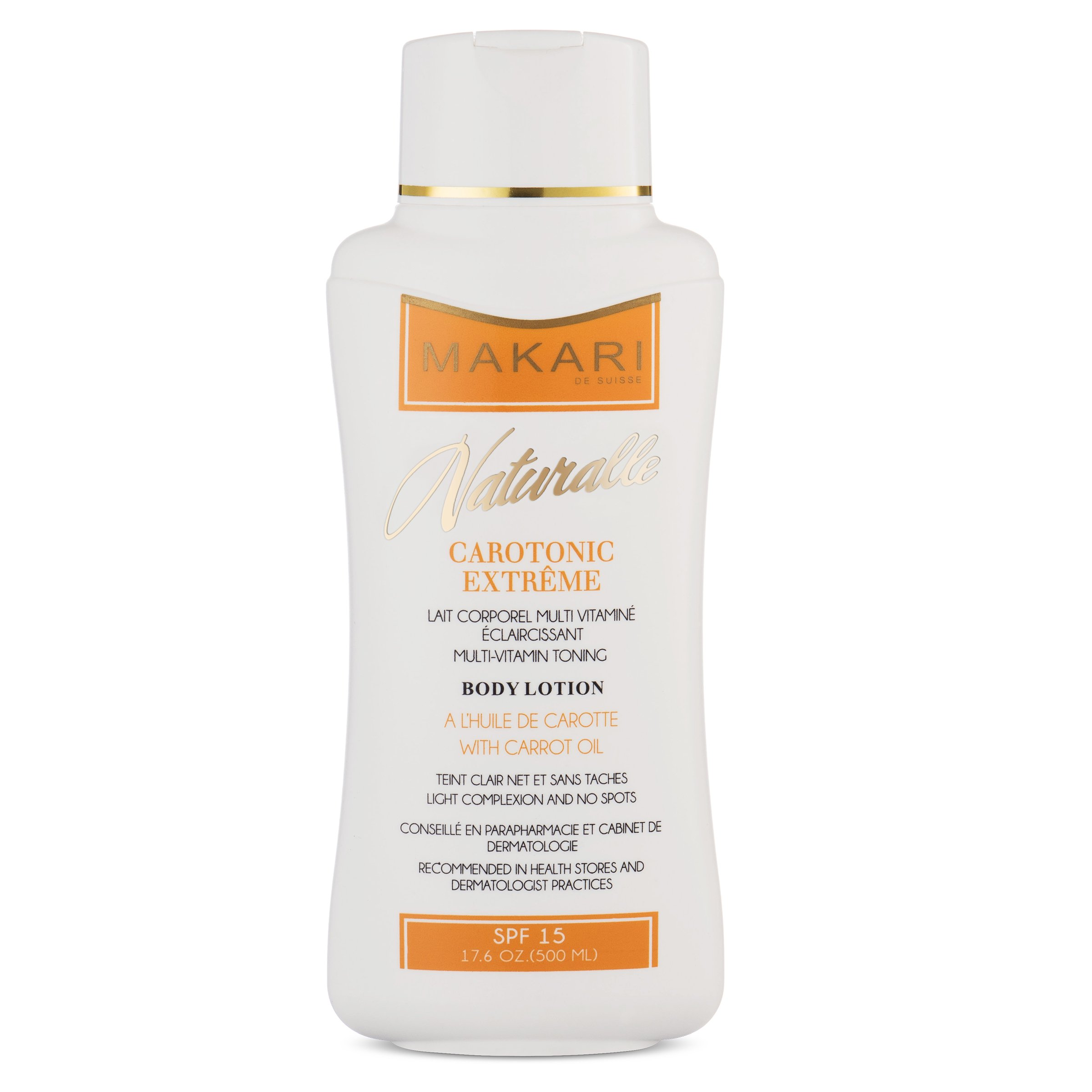 Makari Naturalle Carotonic Extreme Body Lotion 17.6oz – Lightening, Toning & Moisturizing Body Cream With Carrot Oil & SPF 15 – Anti-Aging & Whitening Treatment for Dark Spots, Acne Scars