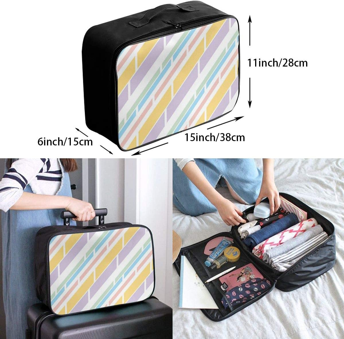 Yunshm Pale Color Stripe Blue Yellow Purple Stripes Customized Trolley Handbag Waterproof Unisex Large Capacity For Business Travel Storage