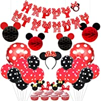 Mickey and Minnie Party Supplies Red and Black Ears Headband Happy Birthday Banner Polka Dot Balloons Set for Minnie Mouse Party Decorations