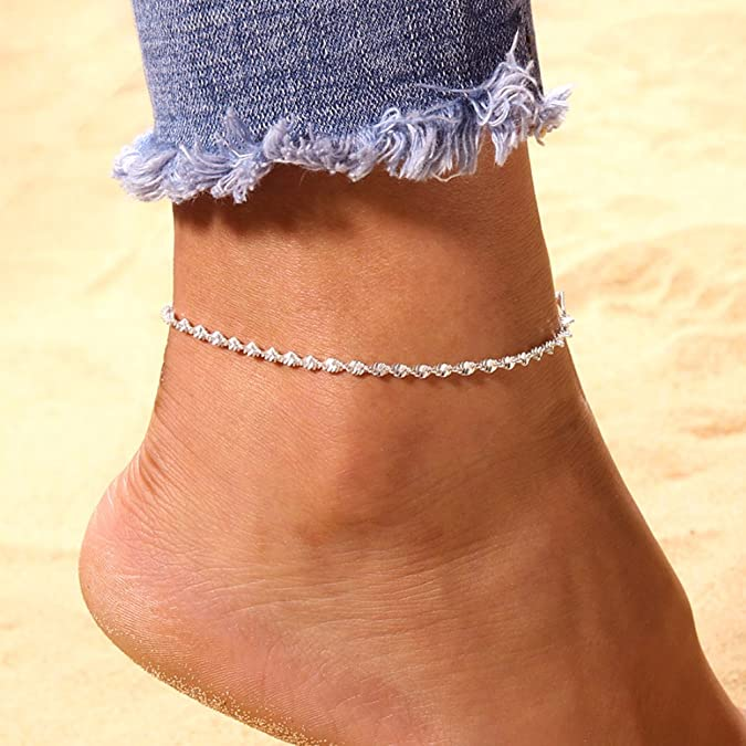 GOMYIE WomenS Barefoot Sandals Toe Ring Anklets Wedding Beach Jewelry Silver color
