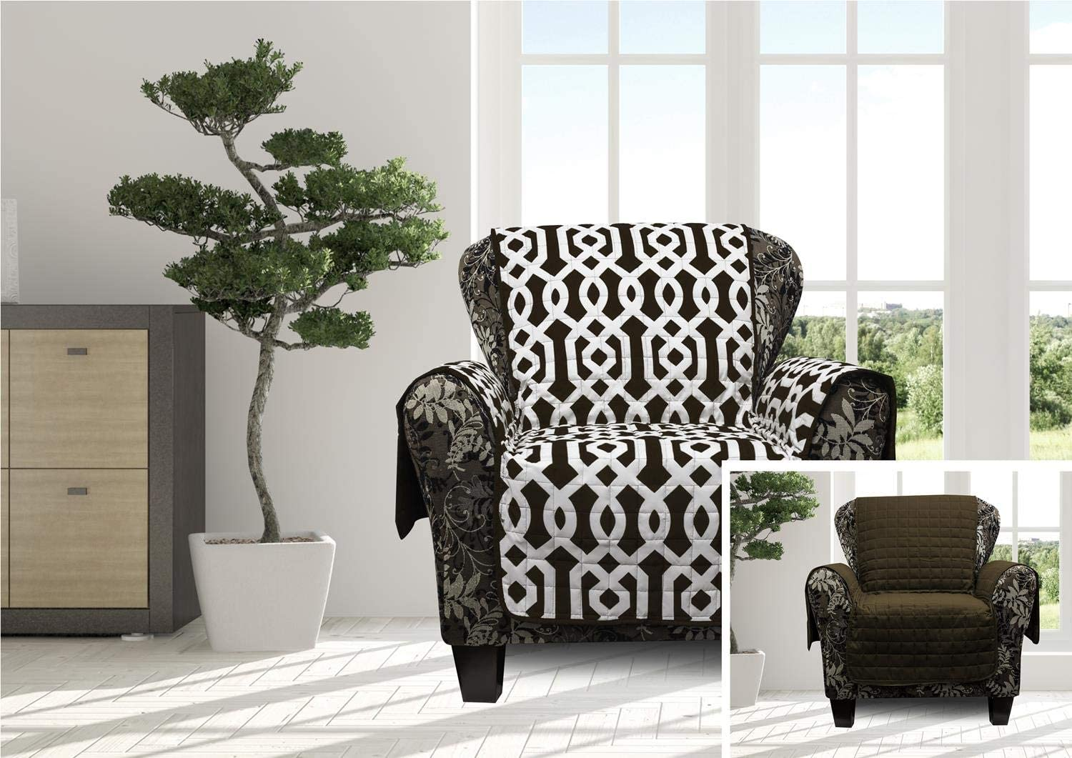 Quick Fit Ashmont Geometric Reversible Waterproof Chair Cover, Brown