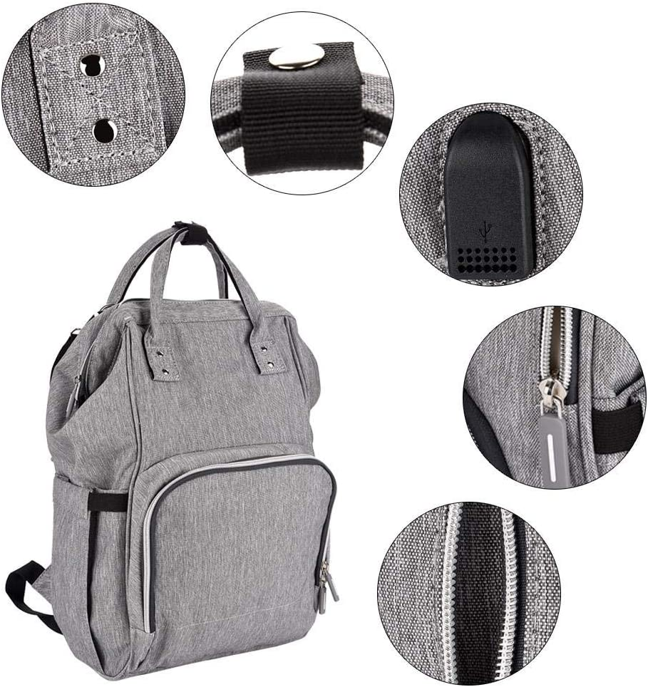 Grey GOTOTOP Diaper Bag 3 Colors Multi Functional Waterproof Large Baby Nappy Backpack with USB Cable Stylish Mummy Maternity Bags for Baby Care Outdoor Travel