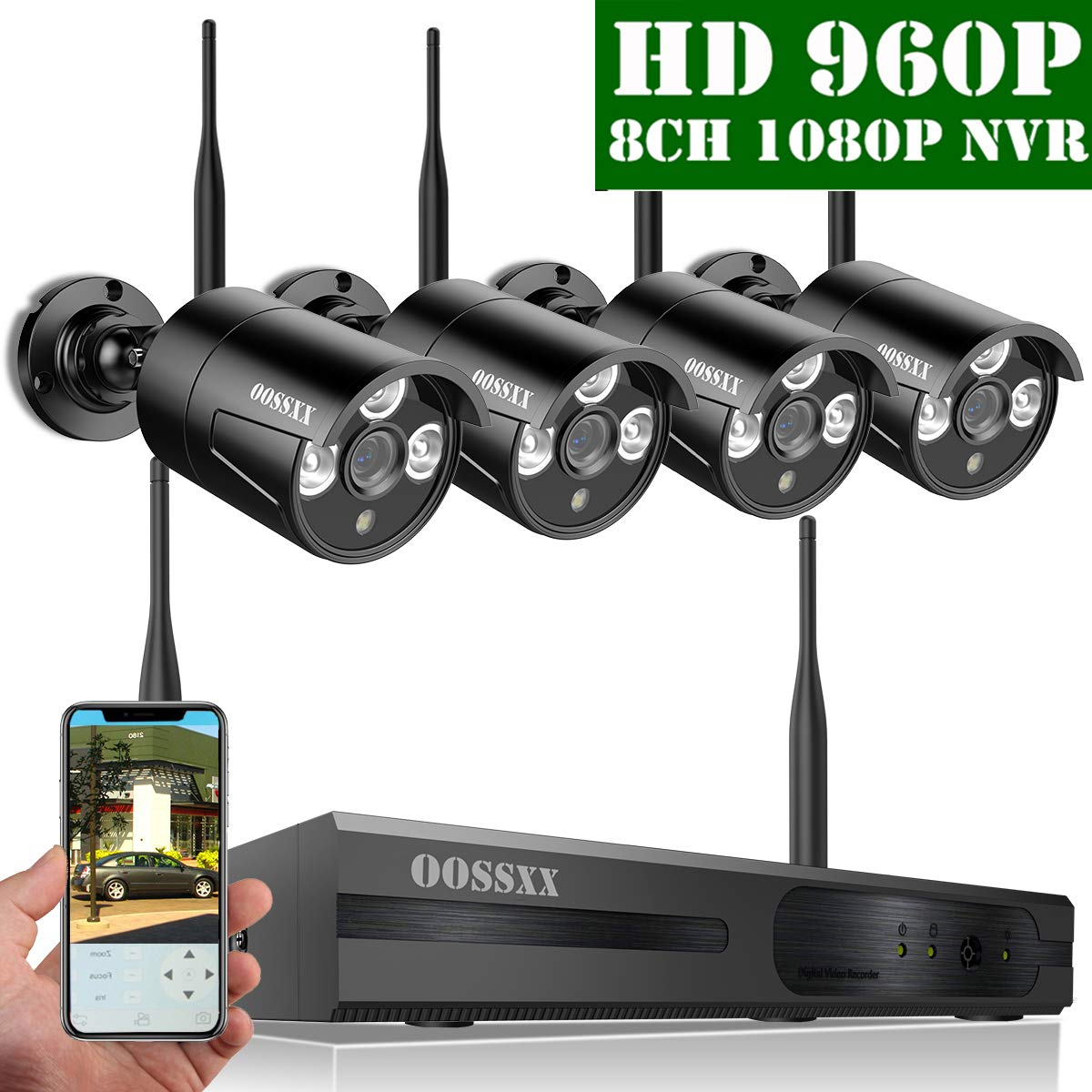 【2019 Update】 OOSSXX HD 1080P 8-Channel Wireless Security Camera System,4 pcs 960P 1.3 Megapixel Wireless Weatherproof Bullet IP Cameras,Plug Play,70FT Night Vision,P2P,App, No Hard Drive by OOSSXX