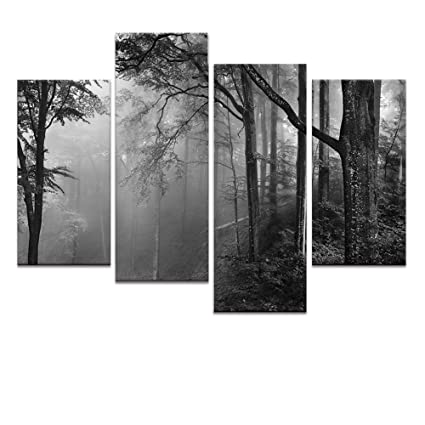 Amazon.com: Forest Canvas Wall Art, Fancy Foggy Forest Landscape ...