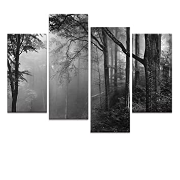 Forest canvas wall artfancy foggy forest landscape canvas printsframed and stretched