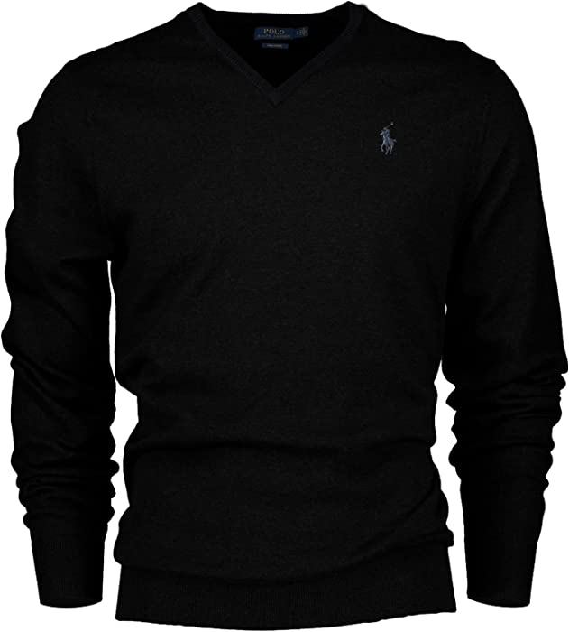 aef5689a0fe68a Polo Ralph Lauren Men's Pima Cotton V-Neck Pony Logo Sweater (Small, Black