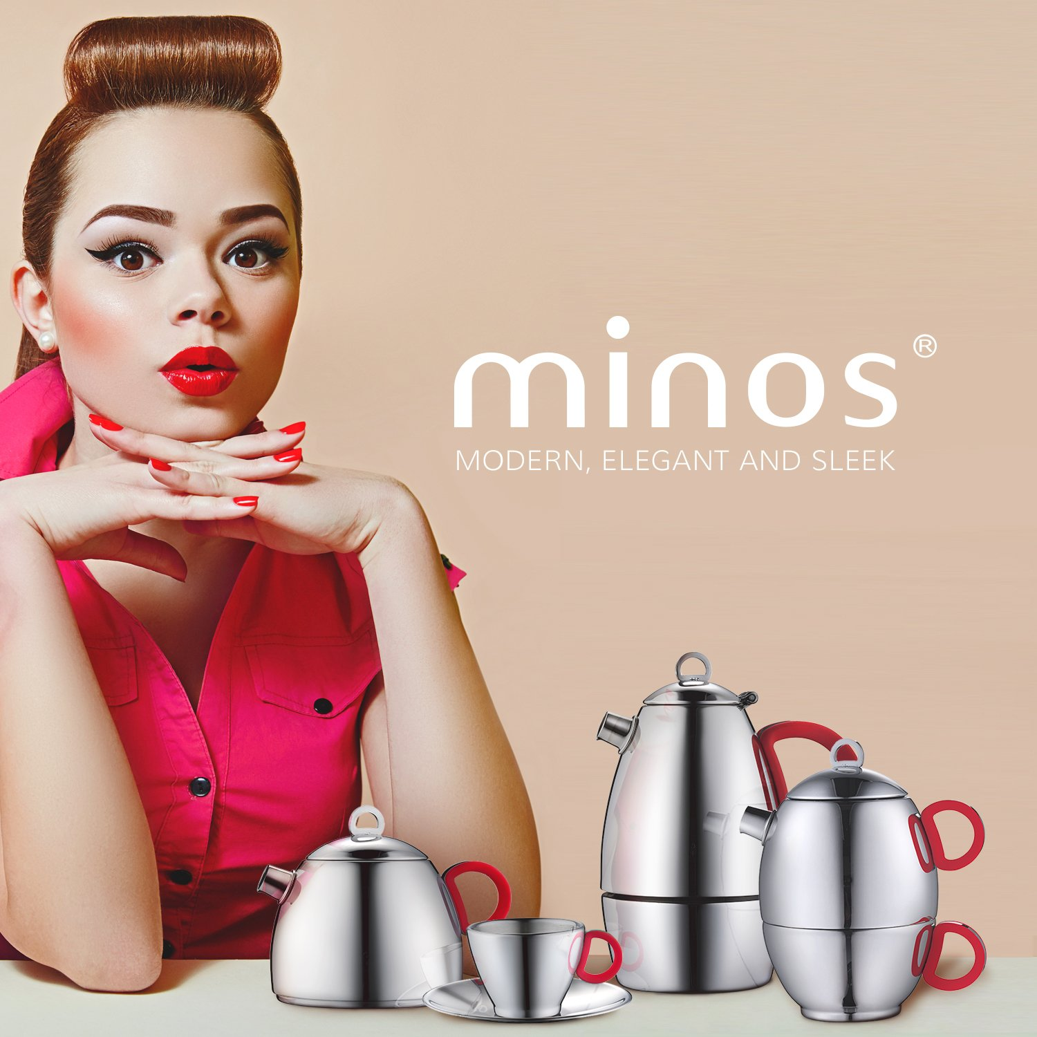 Minos Stunning Stainless Steel Teapot And Cup For One Set With Silicon Handle - 8.5 OZ Liquid Capacity - Hand-polished, Scratch, Wear and Tear Resistant Best for Serving Tea and Coffee by Minos (Image #5)