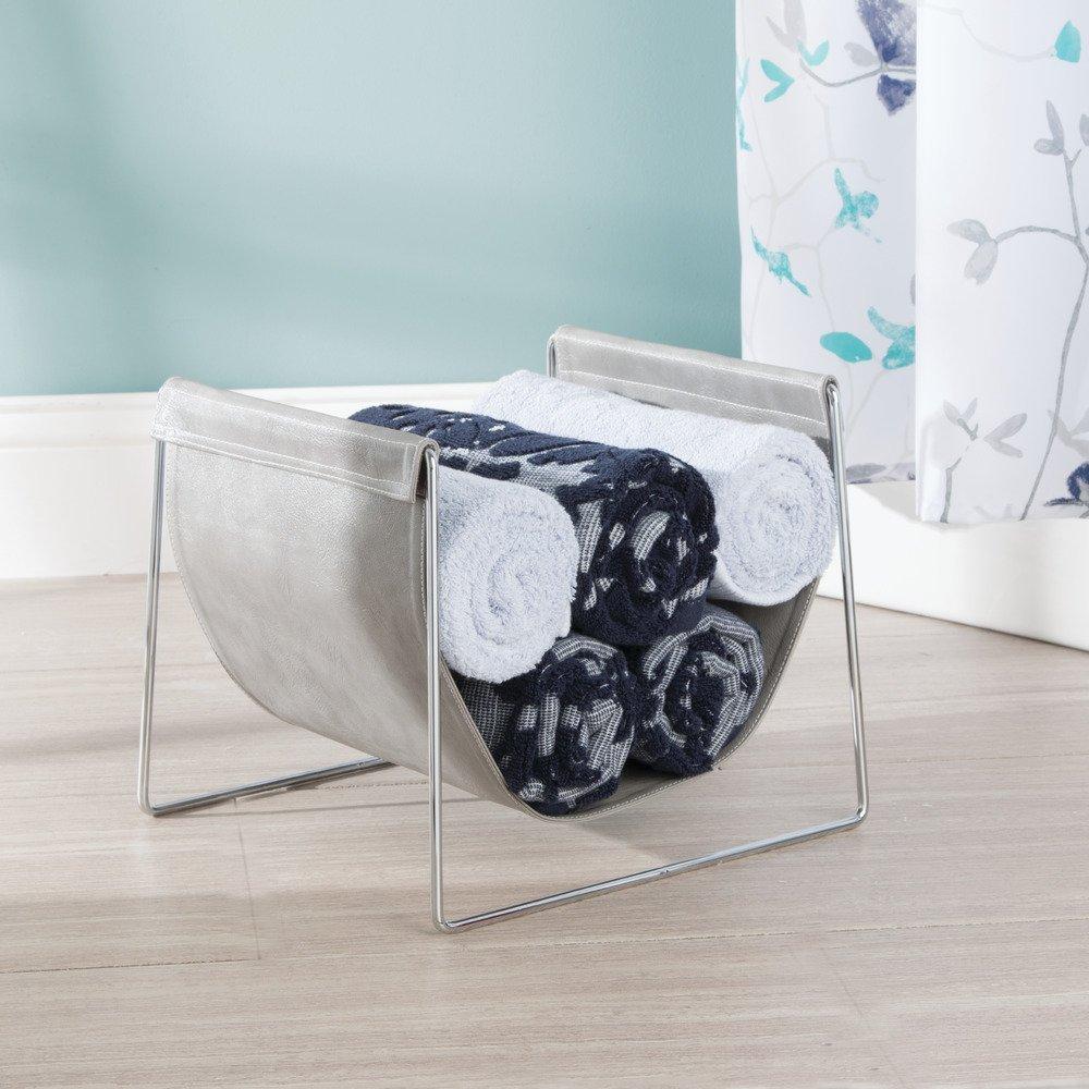 InterDesign Lauren Bathroom Countertop Towel Sling Holder for Hand Towels, Washcloths - Gray/Chrome by InterDesign (Image #2)