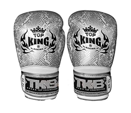 Amazon com : Top King Boxing Gloves Black Silver Snake Skin