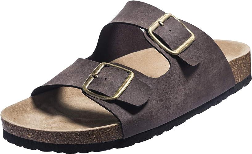FITORY Herren Pantoletten Sommer Flach Sandalen mit Fußbett