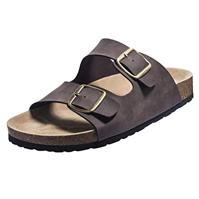 7c7dbf3b3 FITORY Mens Sandals Arch Support Slides with Two Adjustable Buckle Straps  Brown