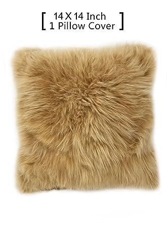 db51a70e9b1352 Amazon.com: 100% Real Alpaca Fur Pillow Cover 14x14 Square (Fawn ...