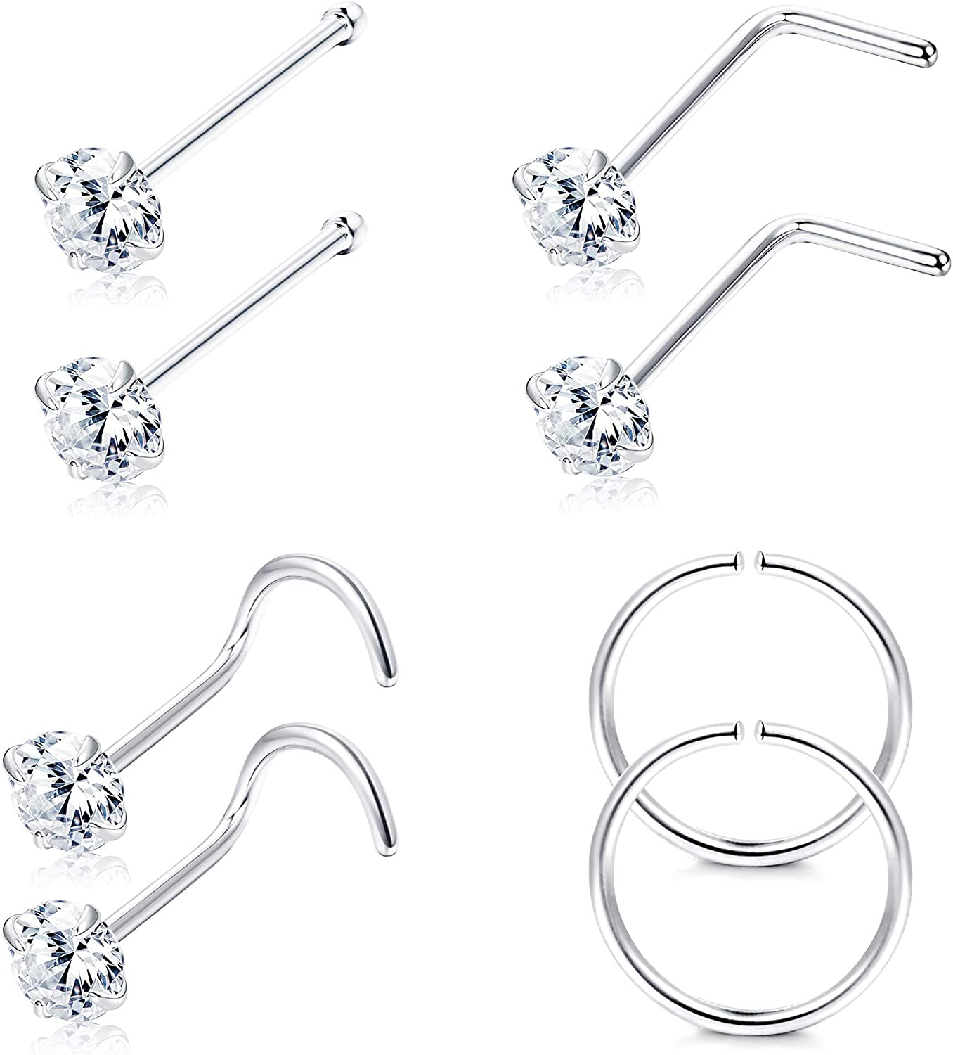 Sllaiss 22G 925 Sterling Silver Nose Rings Studs L Shaped CZ Nose Rings Hoop for Women Men Corkscrew Nose Rings Helix Piercing Jewelry Set Cartilage Earrings Hoop Tragus 8Pcs