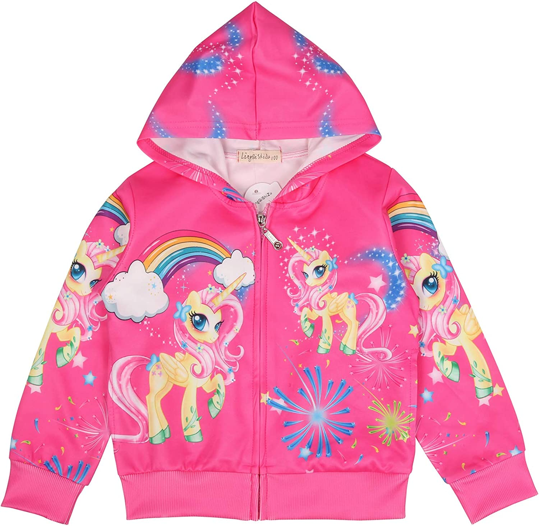 Fille Pull Licorne Imprim/é Sweat a Capuche Zipper Manteau Veste V/êtements Rose Cadeau pour Enfants