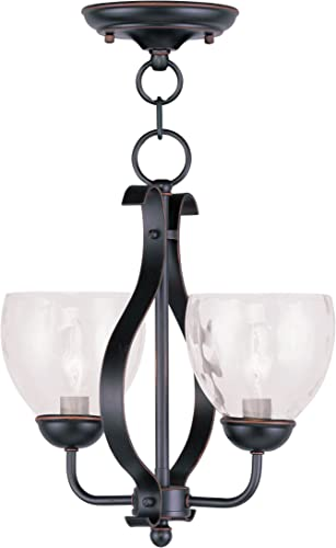 Livex Lighting 4804-67 Brookside 2-Light Convertible Chain Hang Ceiling Mount, Olde Bronze